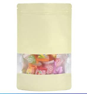 Bolsas Zip, Bolsas Congelacion Color Aluminio Foil Zipper Bolsa de envasado autoportante  Ventana de alimentos Snack Ventana Mostrar paquete BA sellado ( Color : Beige , Number of Pcs : 100 PCS )
