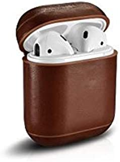 Genuine Leather Earphone Case for Apple Airpods. Shockproof Cover For AirPods Vintage Earphone Protective Case (Brown)