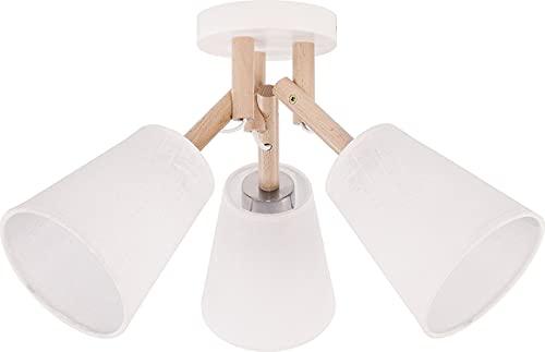 Deckenleuchte Weiß Creme B:42cm L:42cm Trichter Schirm Stoff Holz 3-flammig Flurlampe Deckenlampe Modern