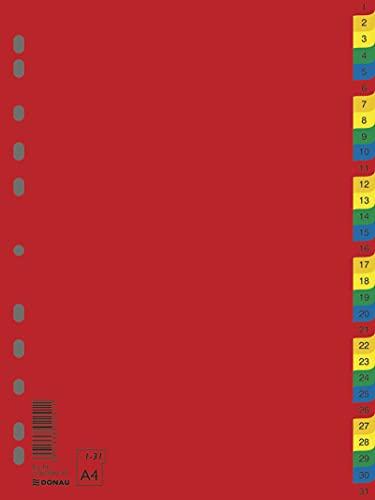 DONAU 7736095PL-99 1-31 Kunststoff-Register Öko PP DIN-A4 230x297mm 31-teilig / Plastikregister Ringbuchregister Trennblätter/ 11-fach gelocht/ für die Ordner-Organisation im Büro/ Verschiedene Farben