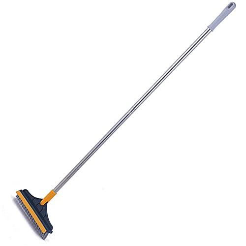AoFeiKeDM Cepillo de limpieza para suelos de azulejos con mango largo, cepillo de limpieza dos en uno, apto para baño, patio, cocina, cubierta de garaje