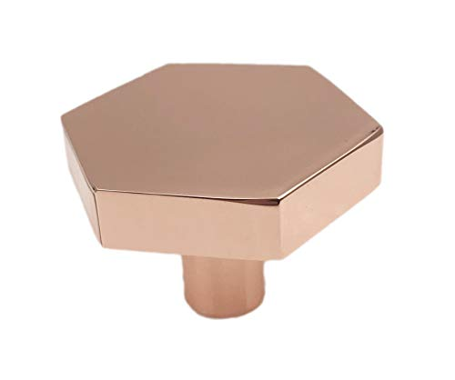 Hexagon Brushed Copper Drawer Knob, Cabinet Knob, Kitchen Drawer Pull - Pack of 12