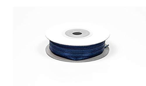 50m Rolle Satinband 3mm // Schleifenband Deko Band Dekoband Geschenkband Dekoration Hochzeit Taufe (dunkelblau/navy 370)
