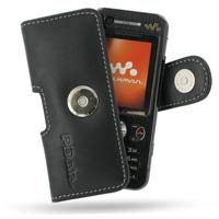 PDair Handarbeit Leder Hülle - Leather Horizontal Pouch Case with Belt Clip for Sony Ericsson W890i (Black)