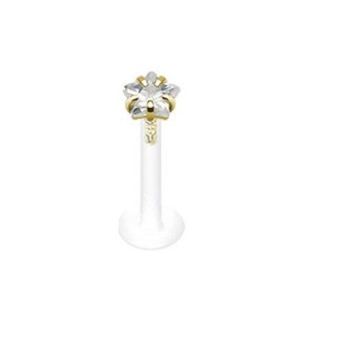 Paula & Fritz® Lippenpiercing Bioflex mit 14 Karat Gold Kopf und Zirkoniastern.
