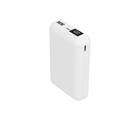 HIDISC液晶表示で残量がわかるモバイルバッテリーカードサイズ,USB-TypeC入出力可能ホワイトHD-MBLCD10000BTWH