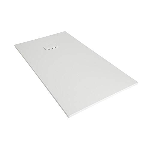 Milano Rasa – White Low Profile Rectangular Textured Slate Effect Shower Tray and Waste – 1200mm x 900mm