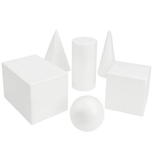 Belle Vous Set Formas Geométricas Blancas 3D (Pack de 6) Bloques Solidos - Juegos Educativos Recurso Aprendizaje/Educación Temprana – Formas para Dibujar, Matemática o Geometría