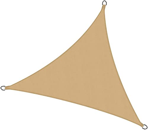 QAZW Triángulo de Vela de Sombra Solar, Pantalla de Privacidad a Prueba de Agua, Terraza de Protección Solar, Protección UV a Prueba de Agua, Hecho de PES Resistente Al Desgarro,Khaki-3x3x3m