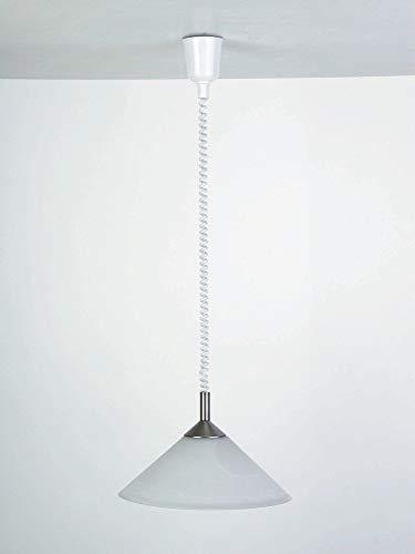 Brilliant Ariana Pendelleuchte mit Rollizug, 1x E27 maximal 100W, Glas/Metall/Kunststoff, eisen/weiß-alabaster 73578/13