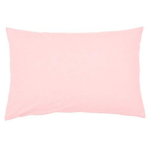Sugarapple Kinder Kissenbezug 40x60 cm mit Reißverschluss, Kissen Bezug aus 100% Baumwolle, ideal als Dekokissen oder Kopfkissen, Uni Rosa