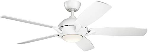 """Kichler 330001MWH Geno 54"""" Ceiling Fan with LED Light and Remote Control, Matte White"""