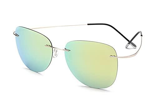 YCHH 100% Titanio Gafas de Sol Super Light Rimless Hombres Gafas de Sol Eyewear (Color : 5)