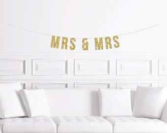 Mrs & Mrs Banner Gold Glitter Gay Wedding Sign Engagement Party Decor Wedding Shower Decorations Lesbian Decorations Womenfor Party Holiday Decoration