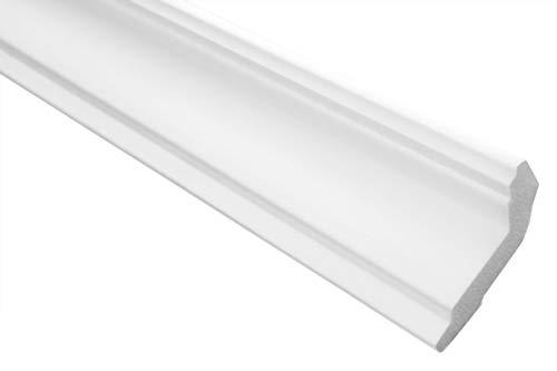 Zierleisten Sparpaket E-32 | leicht und stabil | extrudiertes Styropor | Stuckprofile | Decken-/ und Wandübergang | modern weiß | dekorativ | XPS | 28 x 51 mm | 30 Meter