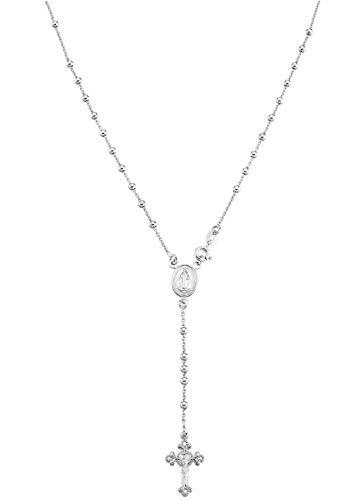 Miabella 925 Sterling Silver Italian Rosary Bead Cross Y Necklace Chain for Women Men, Length 20 Inch