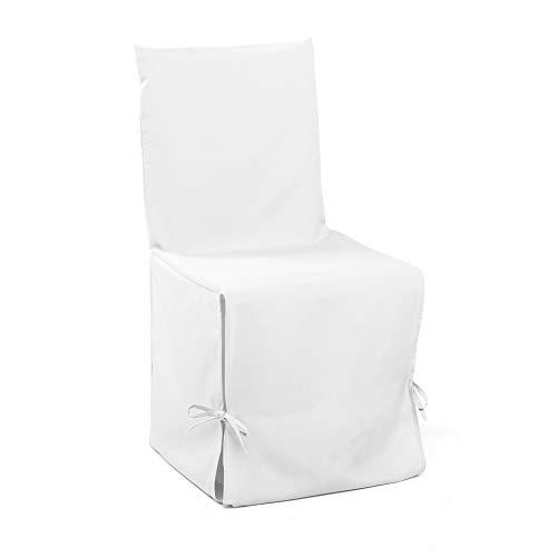 Douceur D'Intérieur 1604802, Fodera Per Sedia, Essentiel , Poliestere Unito , Bianco