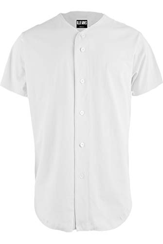 OLLIE ARNES Baseball Jersey, Hip-Hop Shirt Button Down Team Uniform Men Youth Toddler Sizes Plain_White L
