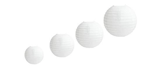 4 stuks papieren lantaarn, ronde witte papieren lantaarn met draadlint, verschillende maten witte lampenkappen, 4