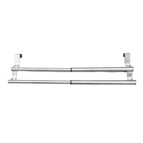 MeMoreCool Portasciugamani da porta, asta estensibile in acciaio inox, senza foratura, doppia barra porta asciugamani, porta asciugamani, per cucina, bagno, WC, 23 x 13 cm (argento)