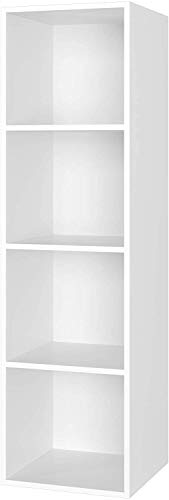 Homfa Libreria Mobile per Archiviazione con Mensola in Legno, Scaffale Cubo per Libri (Bianco, 30x30x106cm)