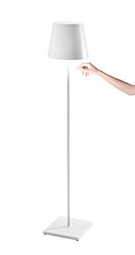 Zafferano Poldina Pro XXL - Lámpara LED Regulable de Pie y Mesa (150 cm/81 cm/69 cm) Base de Carga por Contacto, Enchufe EU, Blanco