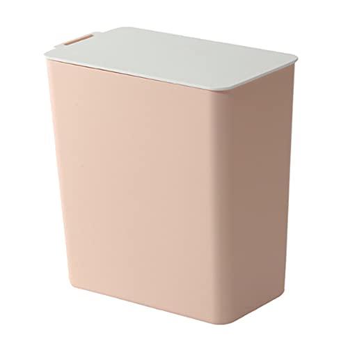 FIJTPSAN Color Sólido Desktop Waste Bins Dustbin Basura Cocina Almacenamiento Bucket Bucket Holder Bin Storage Organizador Decoración para el hogar (Color : Pink)
