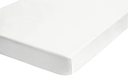 biberna 0012344 Frottee-Stretch Spannbetttuch (Matratzenhöhe max. 22 cm) (Baumwolle/Polyester) 90x190 cm -> 100x200 cm, weiß