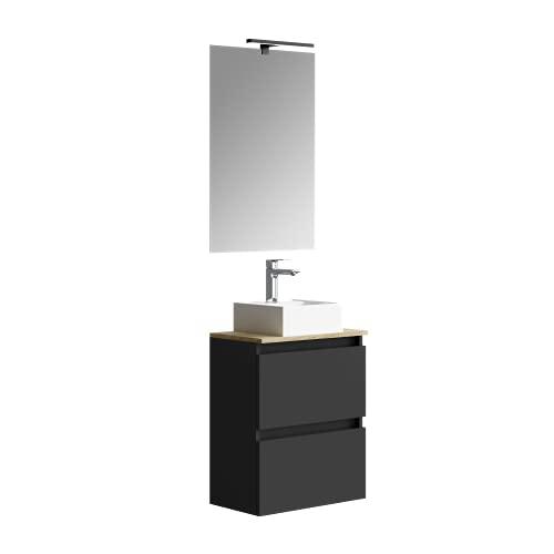 Baikal Marly 280034335, Mueble de baño pequeño con Lavabo cerámico y Espejo con Aplique de luz LED, de una Puerta Abatible y un Cajón, Acabado en Color Negro, Medidas: 50 x 60 x 30 cm
