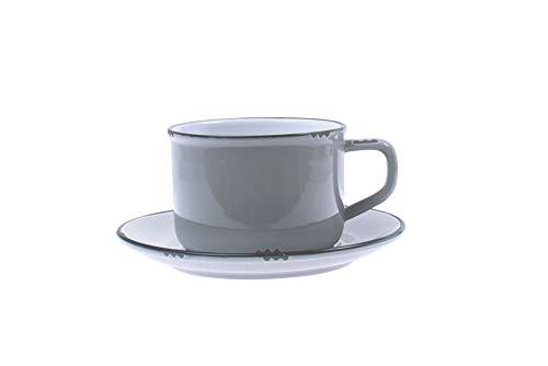 Canvas Home Ltd C28-TCP-LG Canvas Home Tinware Cup en schotel met zwarte velg, lichtgrijs pak van 4, steengoed