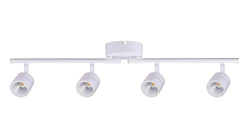 Cloudy Bay 30W 4-Head LED Dimmable Track Light, ETL Listed, Ceiling Lighting,Narrow Flood Light, 2400lm 3000K CRI90, Flexibly Rotatable Light Head, for Accent Lighting, Decorative Lighting