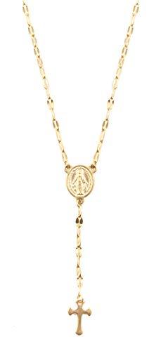Happiness Boutique Damas Collar Cruz con Moneda en Color Oro | Collar Y de Acero Inoxidable
