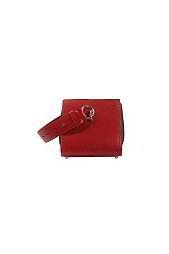 Sara - Mini Bolsa Cubo Plegable de Piel roja y arcoíris