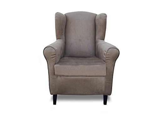 Sillón orejero, butaca tapizada Tela Antimanchas, sillón Lactancia, sillón Relax (Marron Chocolate)