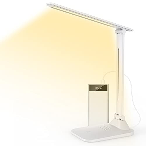 LED Desk lamp, Desk Lamps for Home Office, Small Desk Lamp with 3 Color Modes and 3 Brightness Levels, Reading Lamp with Touch Control, White