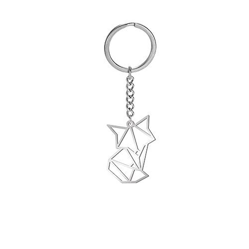 Amaxer Niedlicher Origami-Schlüsselanhänger aus Edelstahl mit geometrischen Aussparungen, Tier-Schlüsselanhänger für Unisex Tierliebhaber, fuchs,