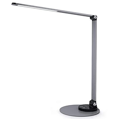 Schreibtischlampe LED Metall Tischlampe, Tageslichtlampe mit 6 Helligkeits- und 3 Farbstufen, Ultradünn leselampe, 0,9 KG augenschonende , Speicherfunktion, USB Ladeanschluss (grau)