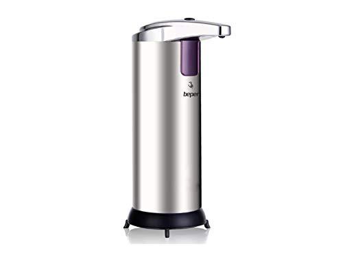Beper 40.931 Dispenser Sapone Automatico, Acciao/ABS,Sensore Infrarossi, Capacità serbatoio 250 ml, 3 impostazioni del flusso di erogazione, Dispositivo anti-goccia
