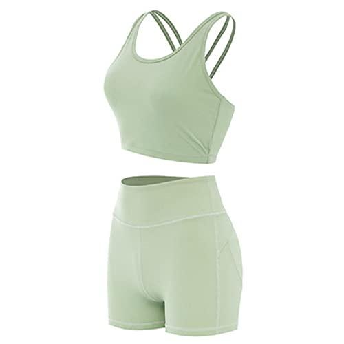 Cross Sling Beauty Back Sujetador Deportivo Melocotón Cadera Apretada Yoga Shorts Deportes Fitness Traje,Light green,L