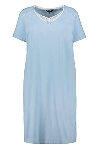 Ulla Popken Damen große Größen Übergrößen Plus Size Nachthemd, Spitze, V-Ausschnitt, Halbarm, Biobaumwolle hellblau 54+ 792852700-54+