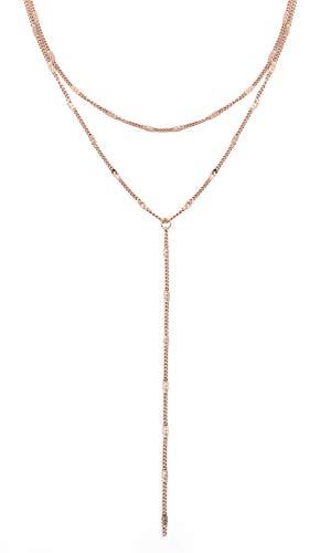 Happiness Boutique Collana Multifilo in Oro Rosa   Delicata Collana Y Bijoux Acciaio Inossidabile