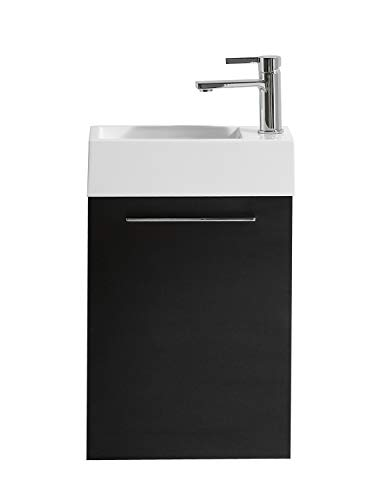 Badezimmer Badmöbel Madrid 40x22 cm schwarz Holz - Unterschrank Schrank Waschbecken Waschtisch
