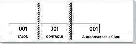 Carnet de 100 tickets 3 souches numerotees 48x150mm blanc