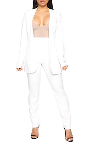 Aro Lora Women's 2 Piece Outfit Casual Solid Open Front Blazer and Pencil Pant Suits Set Small White