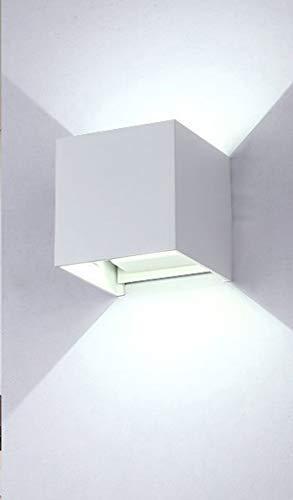 Eenvoudige wandlamp met led, dimbaar, Square Up en Down Lighting wandlamp voor binnen en buiten, decoratieve verlichting voor de tuin, waterdicht, wit