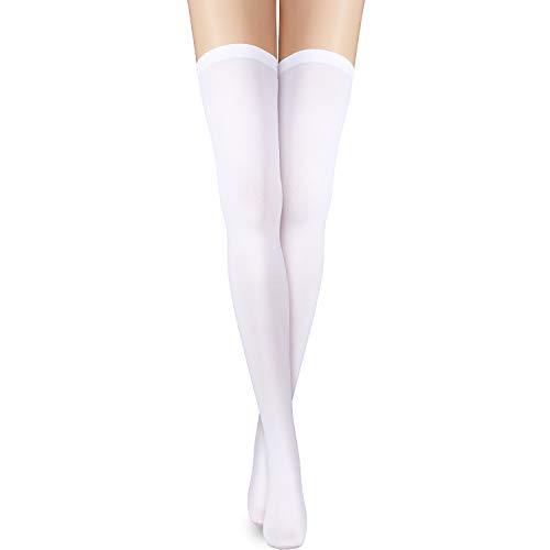 SATINIOR Über Knie Schenkel Socken Kniehohe Socken Schenkelhohe Strümpfe Lange Baumwollsocken (Weiß, 23,6 Zoll)