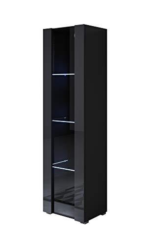 muebles bonitos Vetrinetta Modello Luke V5 (40x167cm) Colore Nero con Piedini Standard