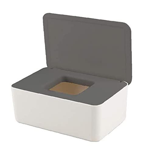 Dispensador de toallitas Dry Box Tejido húmedo Caso de Papel Titular, a Prueba de Polvo Porta Papel Caja de Almacenamiento Caja de toallitas húmedas dispensador con la Tapa del Blanco Gris