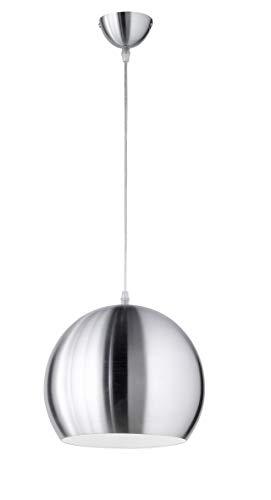 Reality Leuchten Pendelleuchte Pendellampe aus Metall, 1 x E27 maximum 60 W ohne LM, Durchmesser 30 cm, Pendellänge maximum 130 cm, nickel matt R30101007
