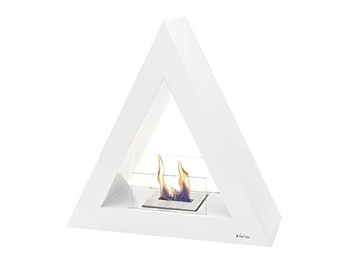 PURLINE TALIA W White pyramidal floor biochimney for indoor and outdoor use